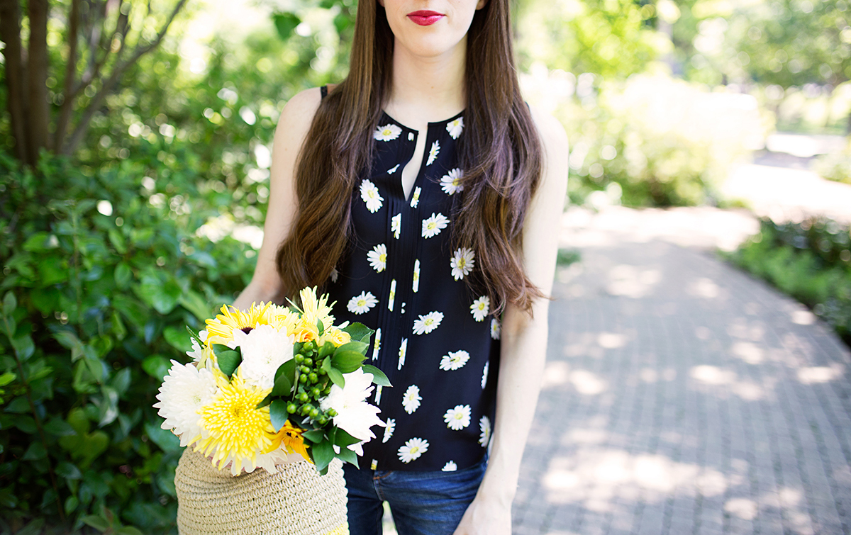 Kate Spade daisy dot print silk blend top