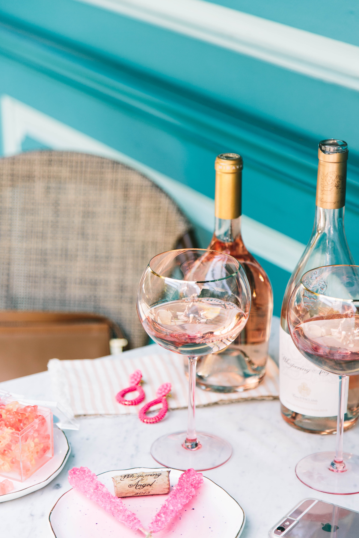 Anthropologie pink wine glass