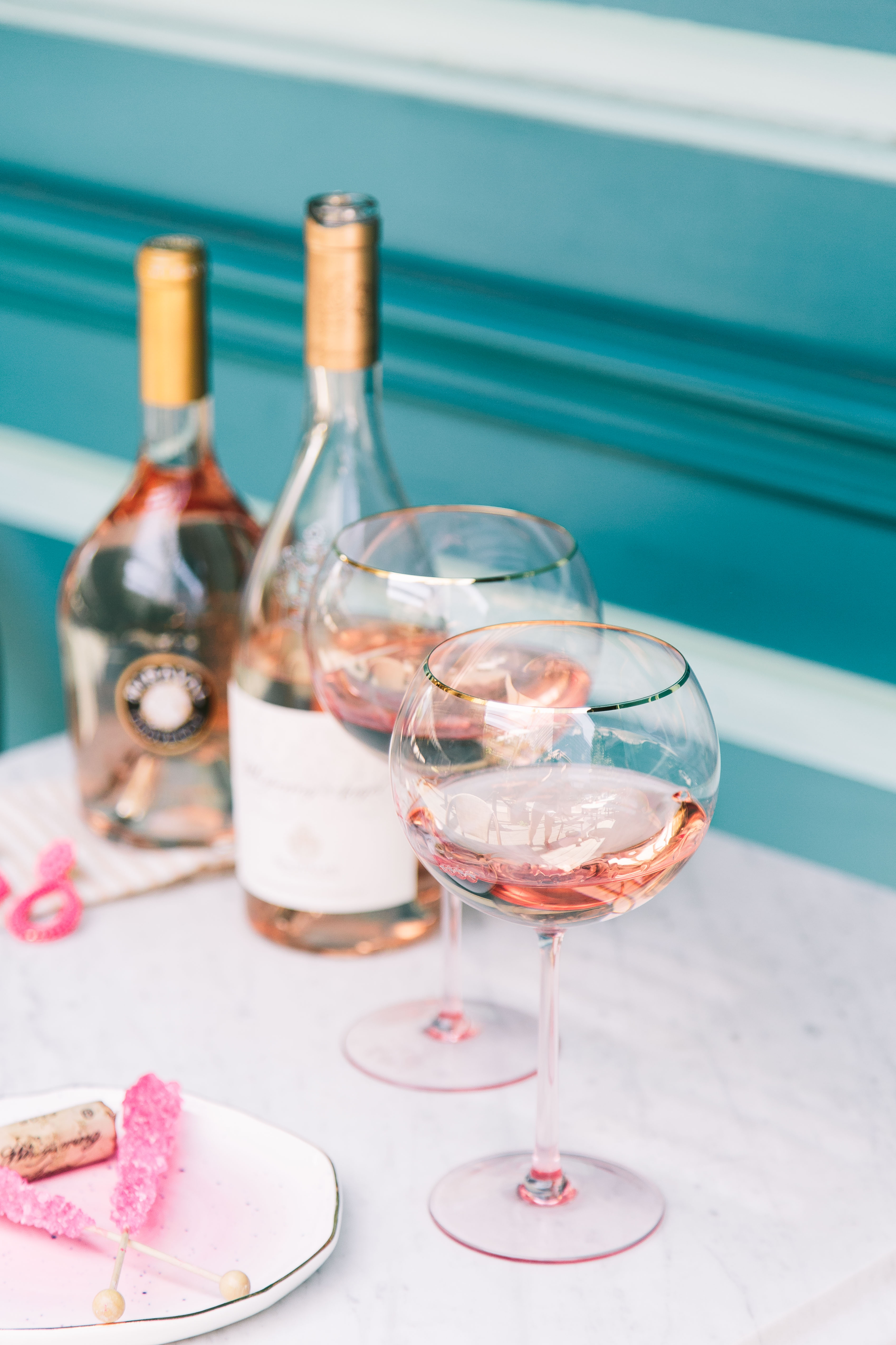 Anthropologie pink glassware