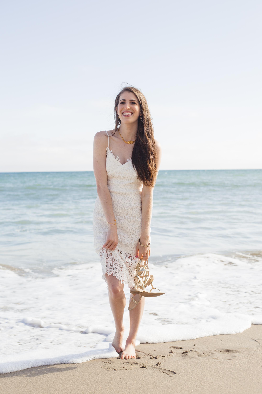 Mustard Seed white lace midi dress