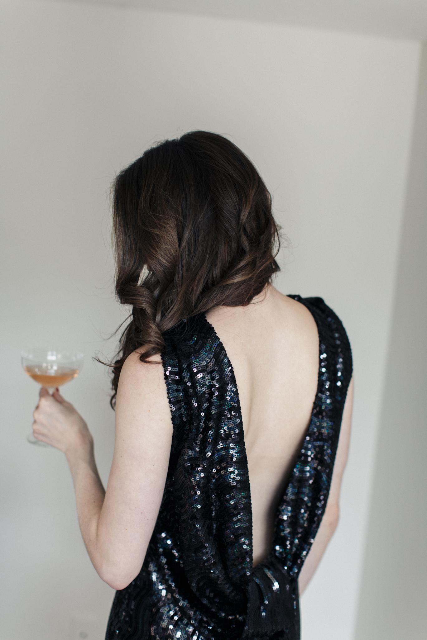 Backless black sequin dress