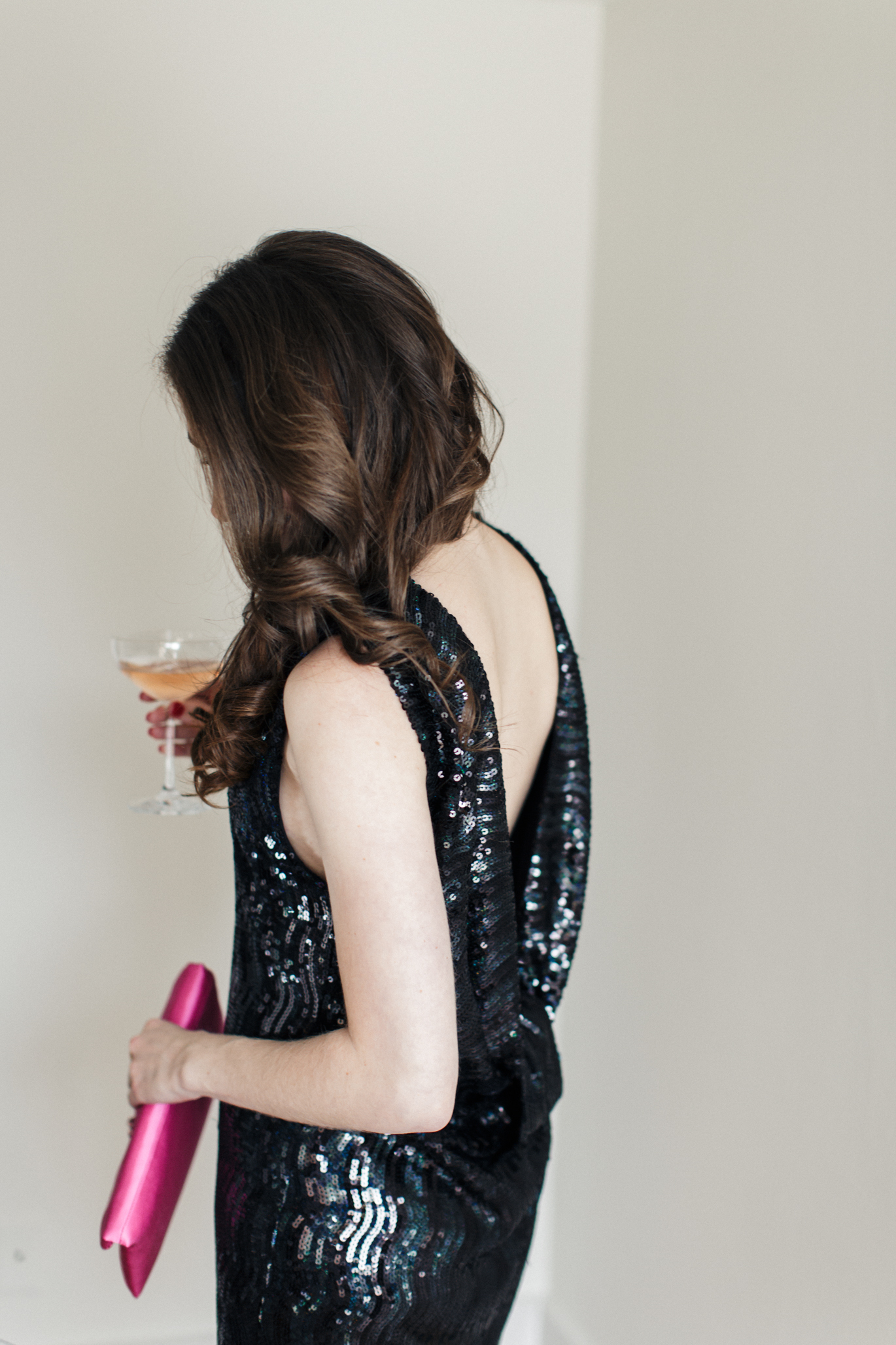 Whitney Eve black backless sequin dress