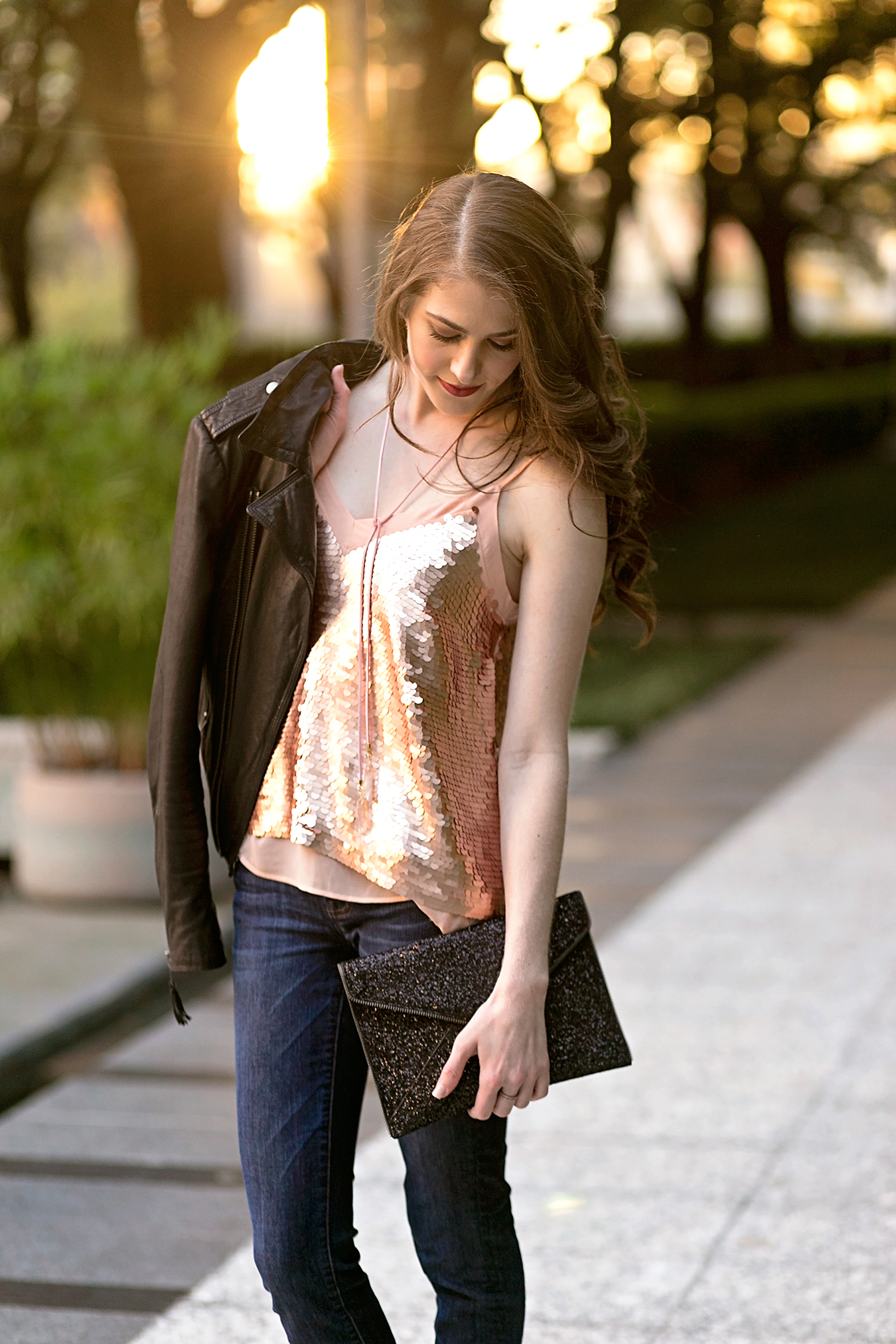 Anthropologie rose gold sequined cami