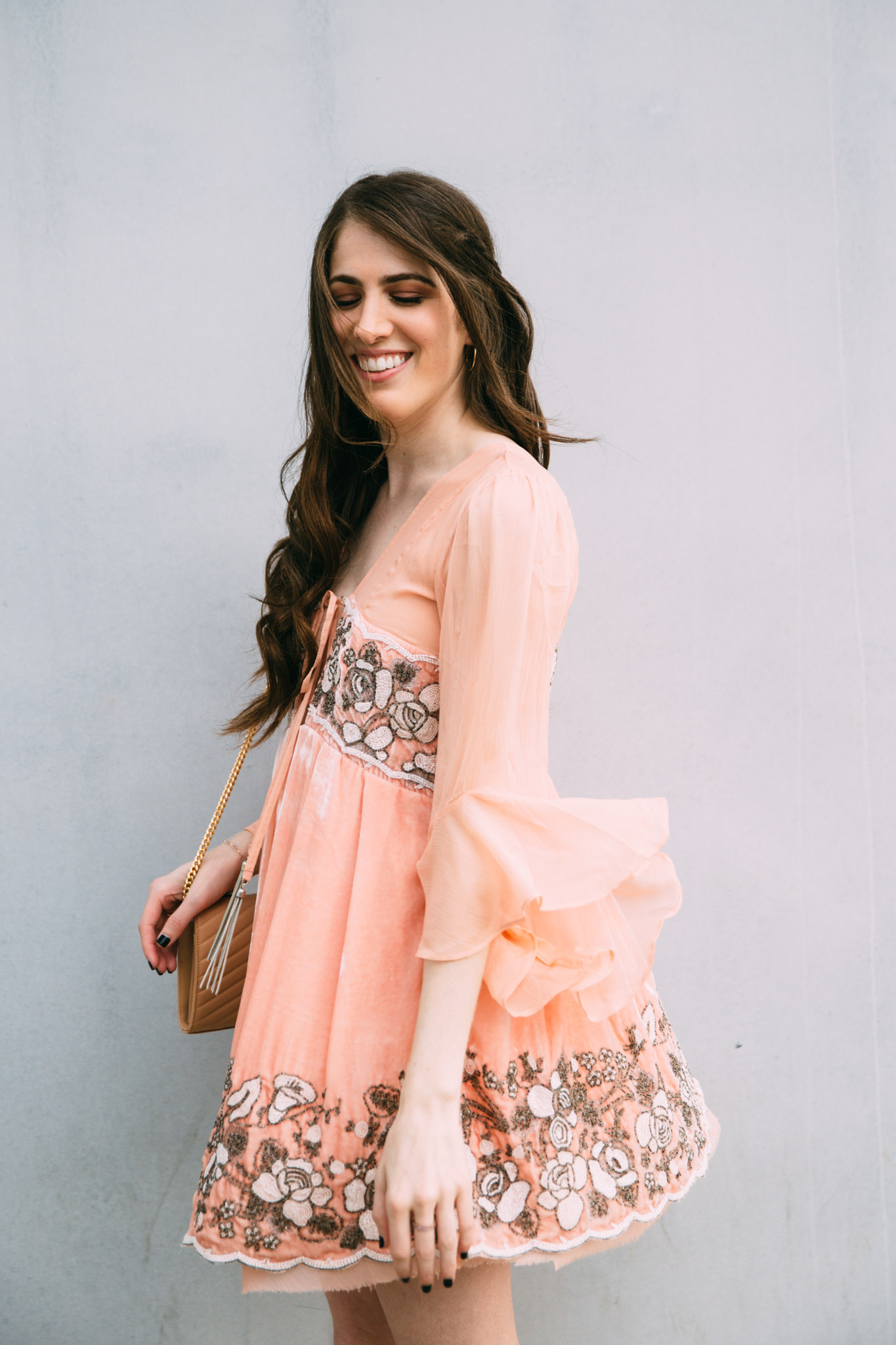 Free People embellished blush dress