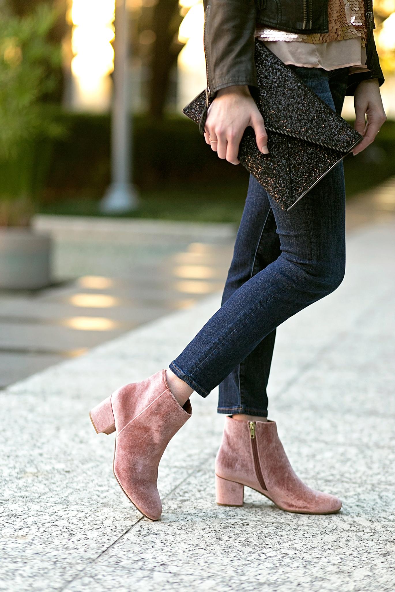 Halogen blush velvet booties