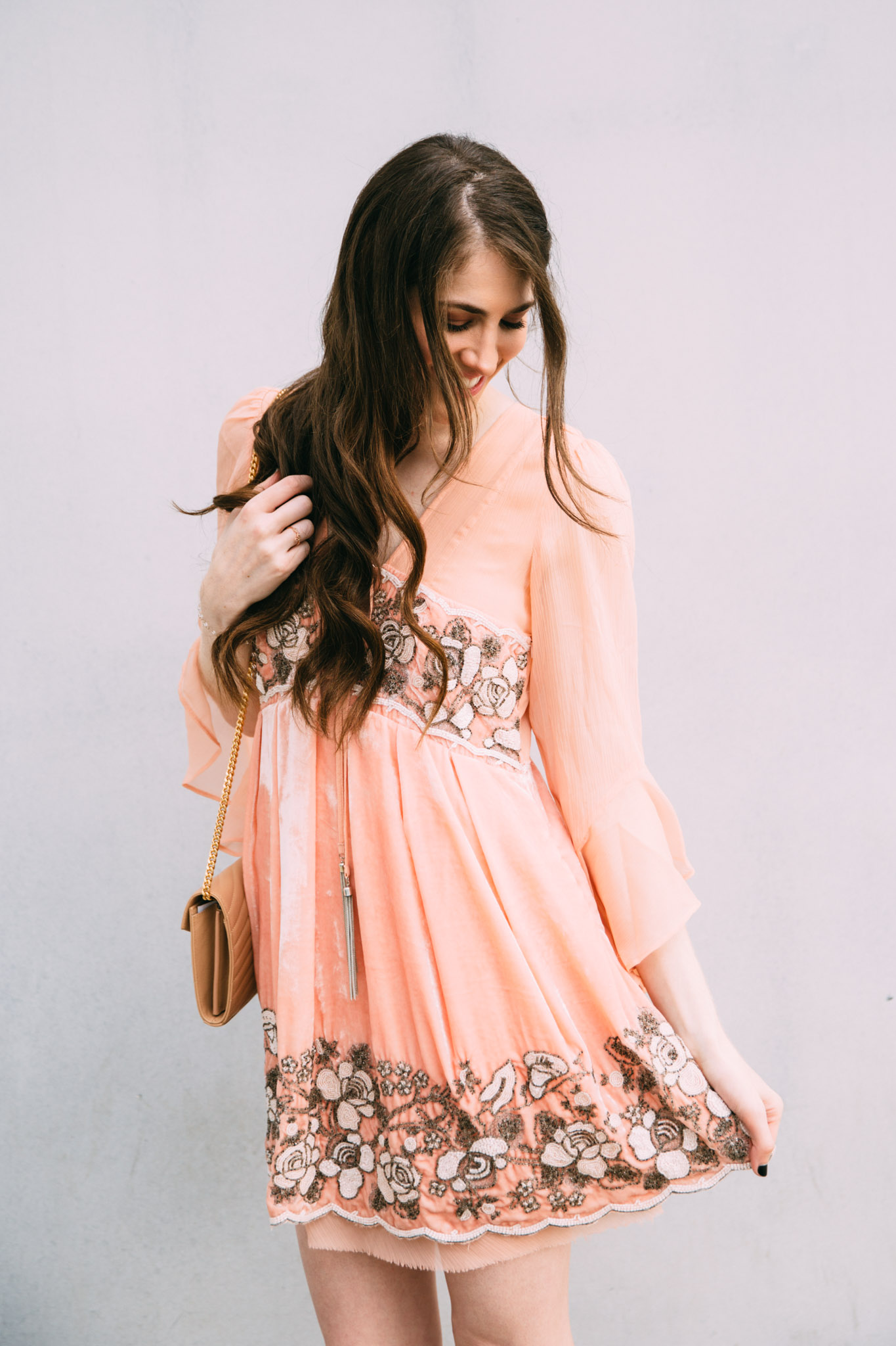 Free People blush velvet dress with florals