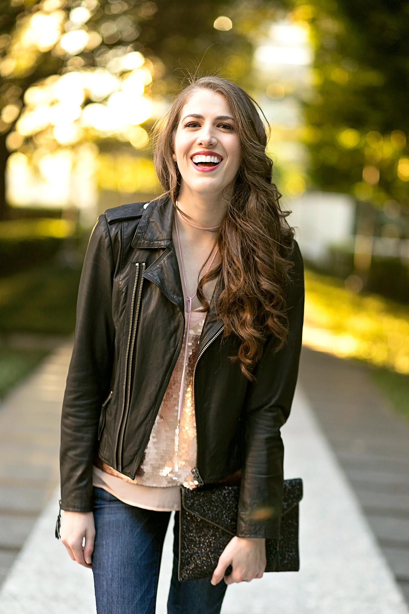 Joie black leather jacket