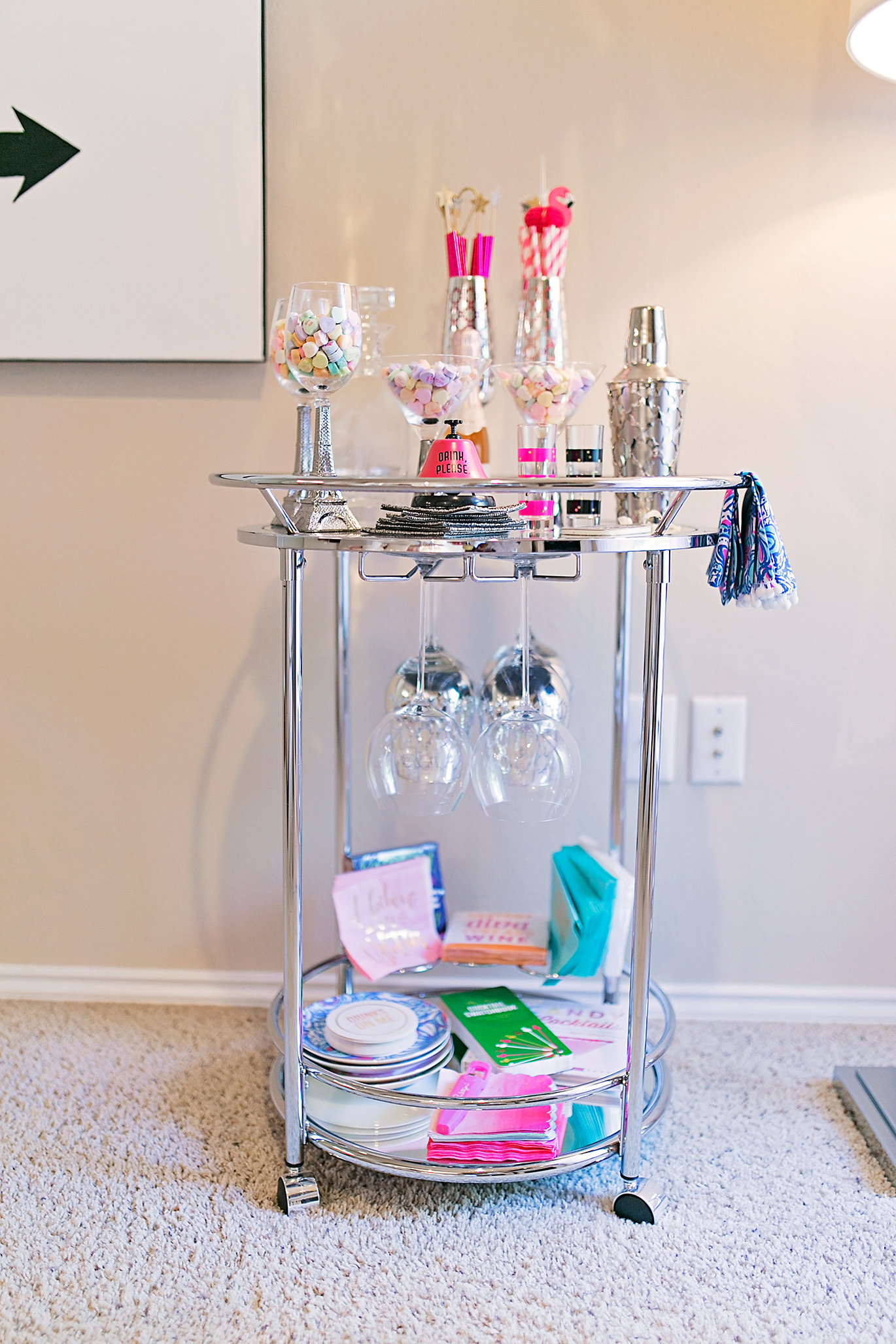 How to style a silver bar cart