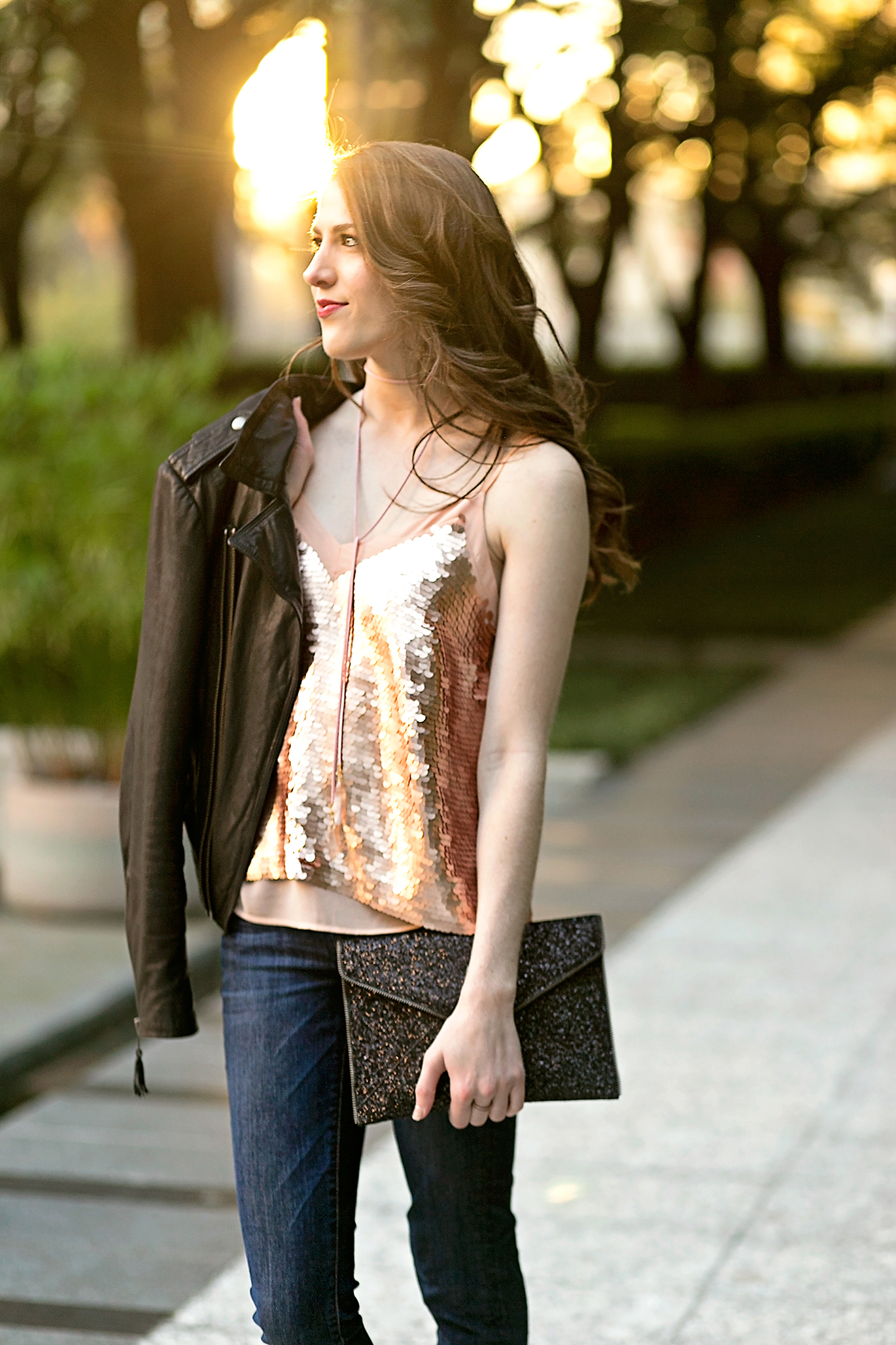 Anthropologie rose gold sequin top