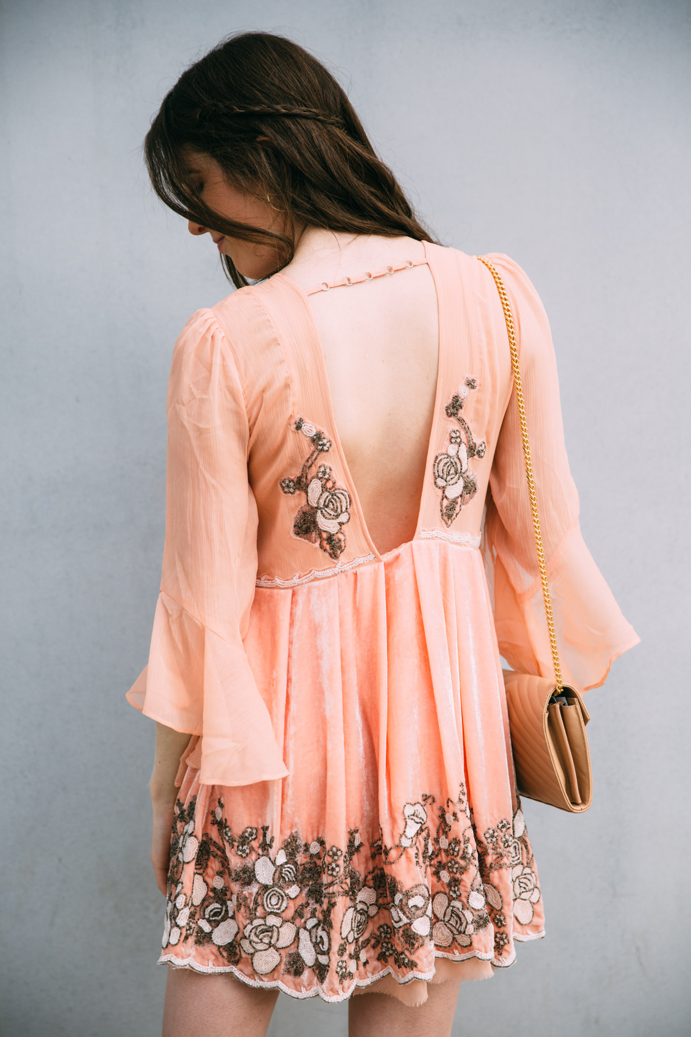Free People backless dress with embellishment