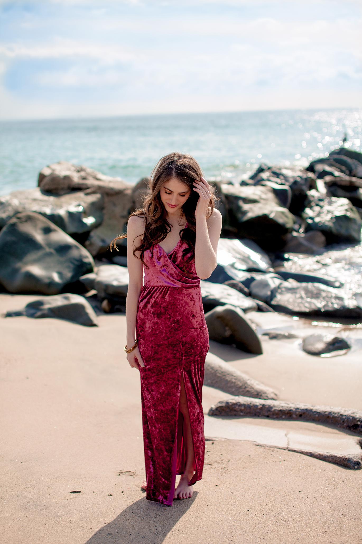 Pink velvet maxi dress with slit
