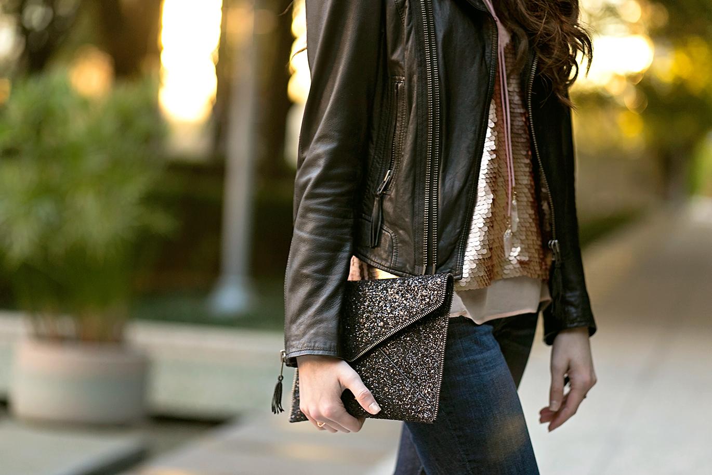 Rebecca Minkoff black glitter clutch