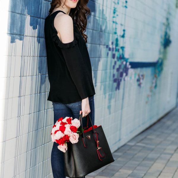 Prada Saffiano cuir double small tote bag black red