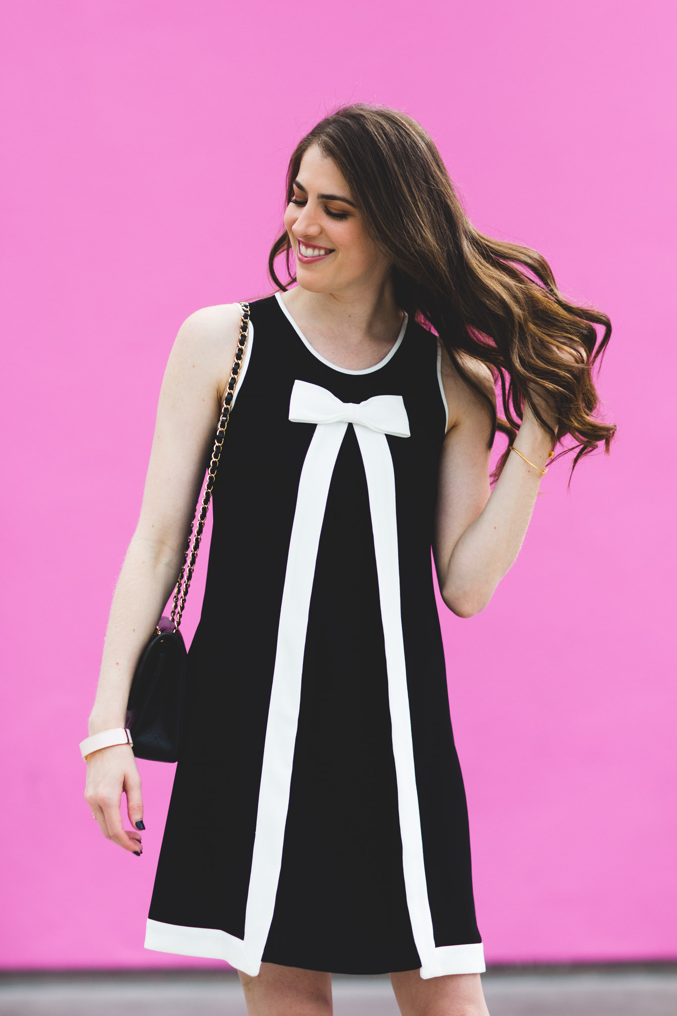 CeCe colorblock sleeveless bow dress