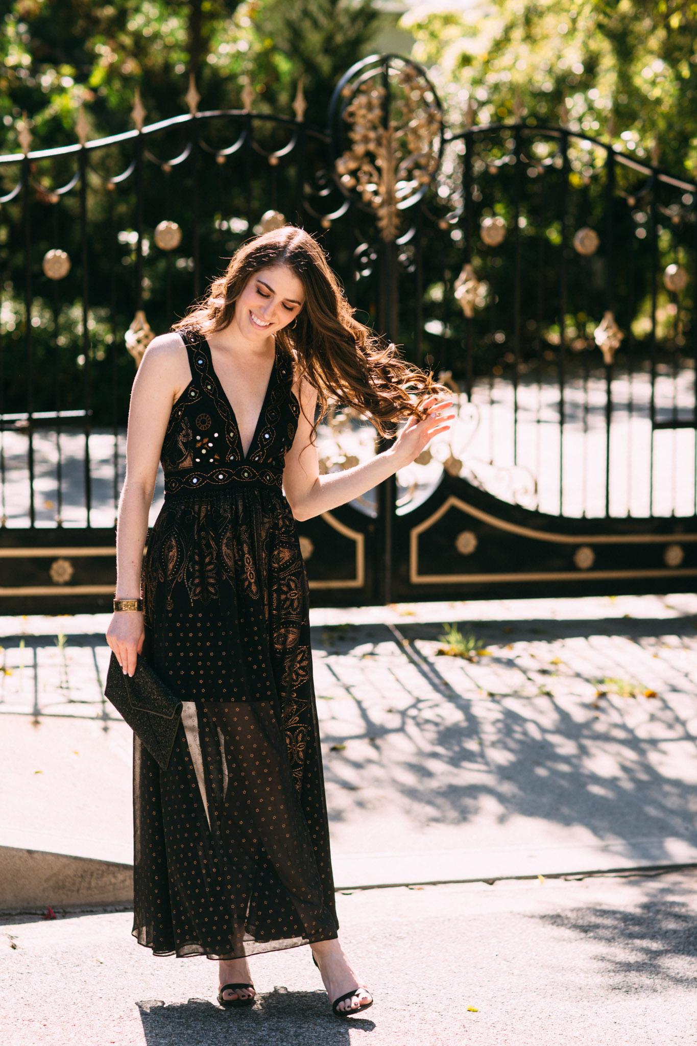 Moroccan inspired black dress