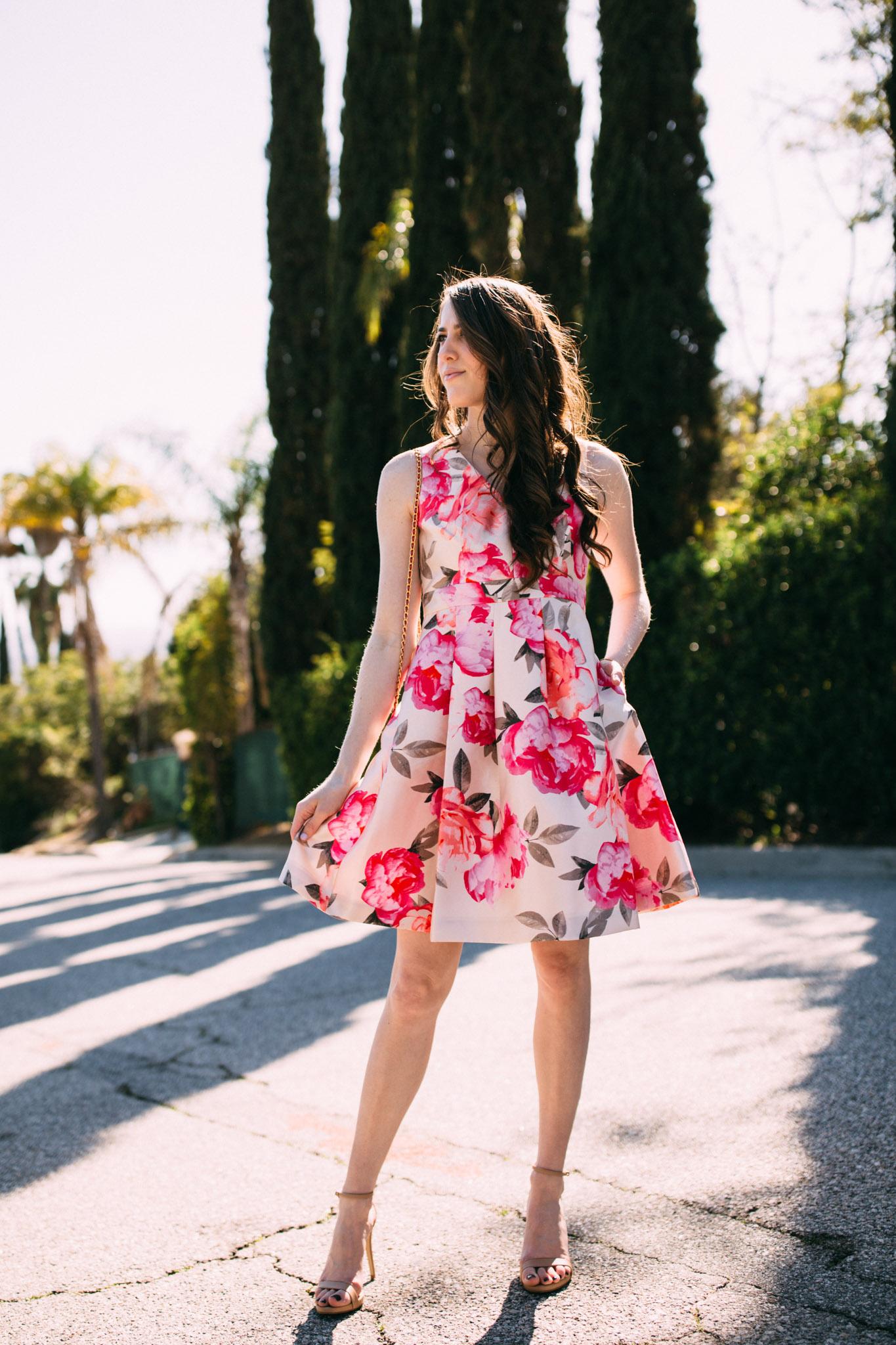 Eliza J fit and flare floral dress