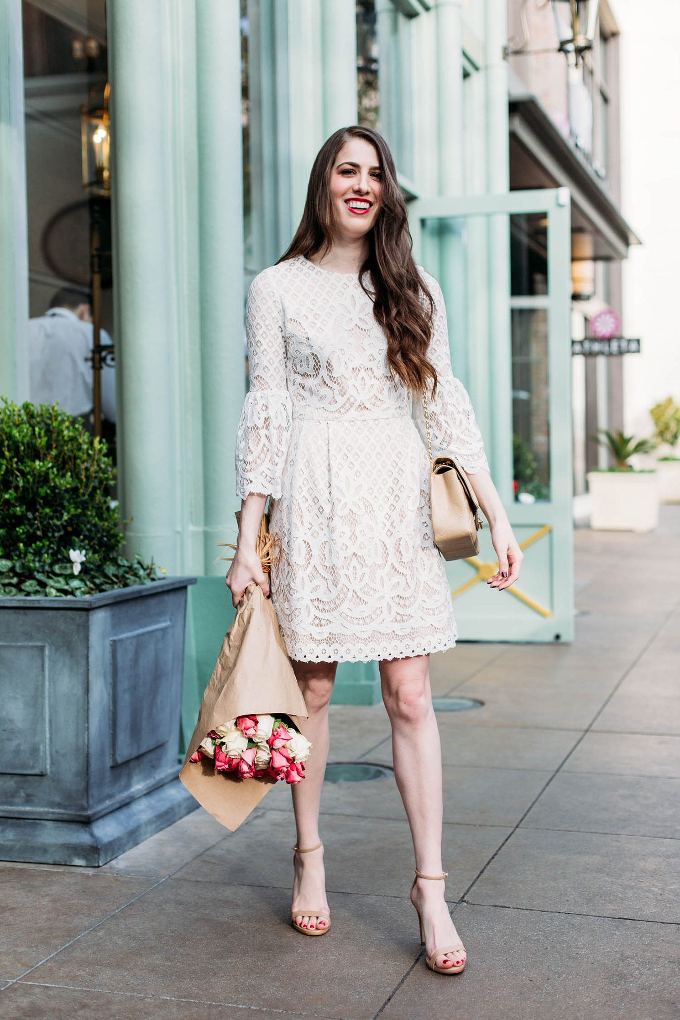 Eliza J white lace dress with bell sleeves
