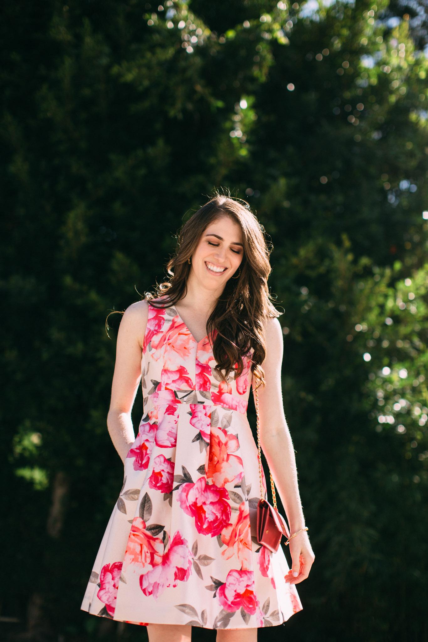 Eliza J pink peony dress
