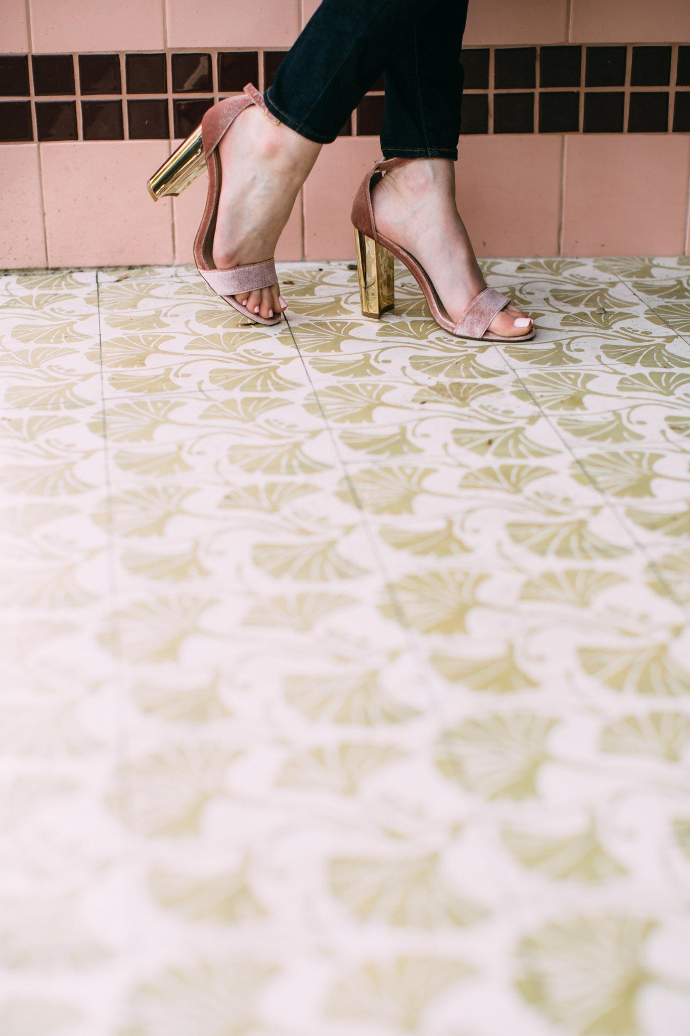 Steve Madden blush velvet heels
