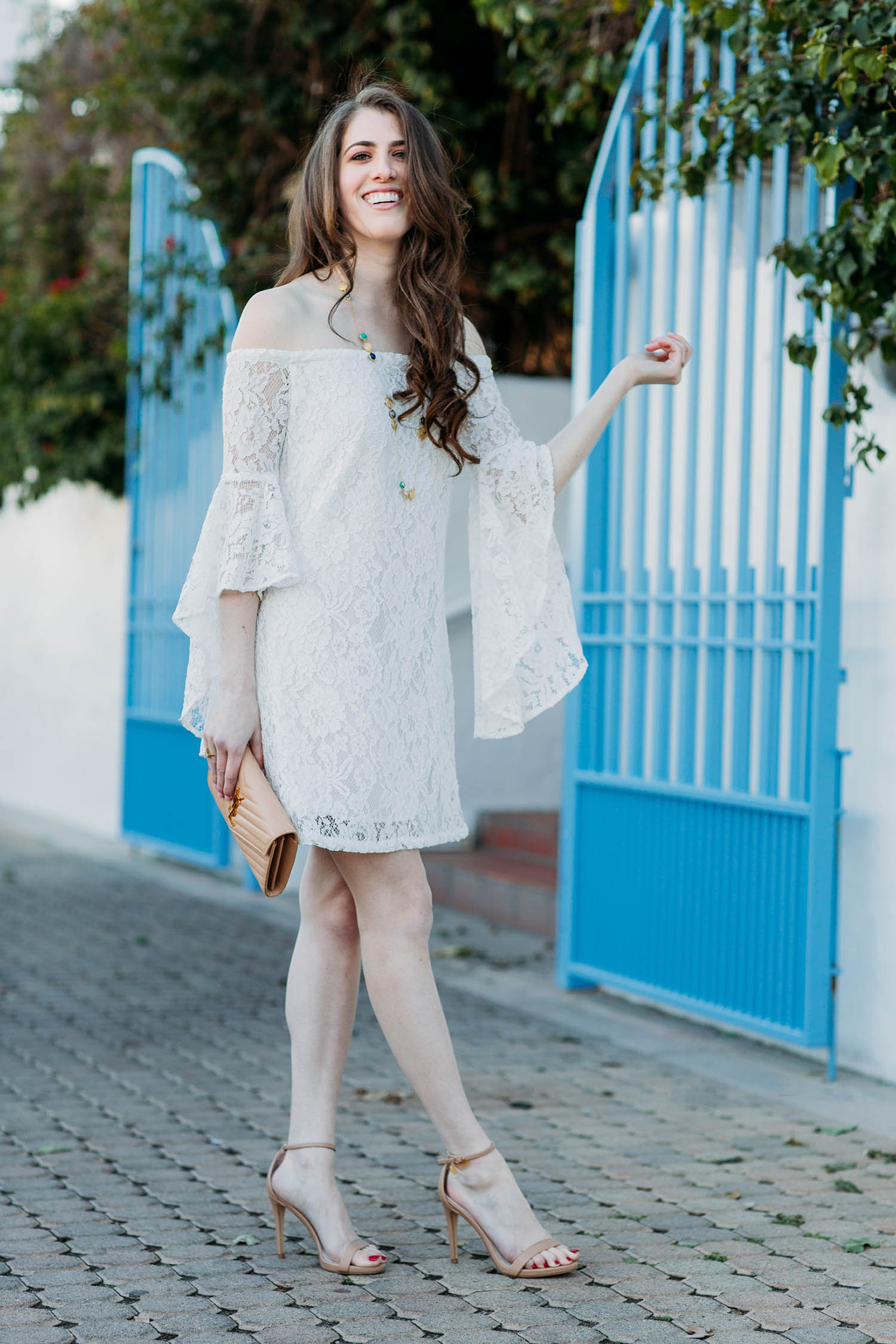 Off the shoulder white lace dress