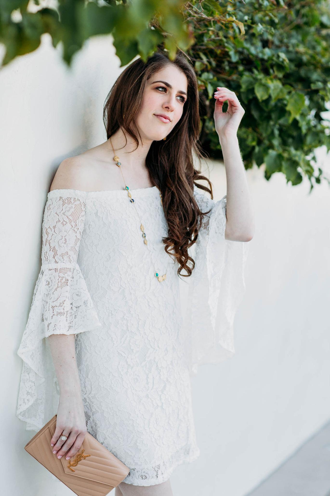 Wayf sundown off the shoulder bell sleeve lace dress