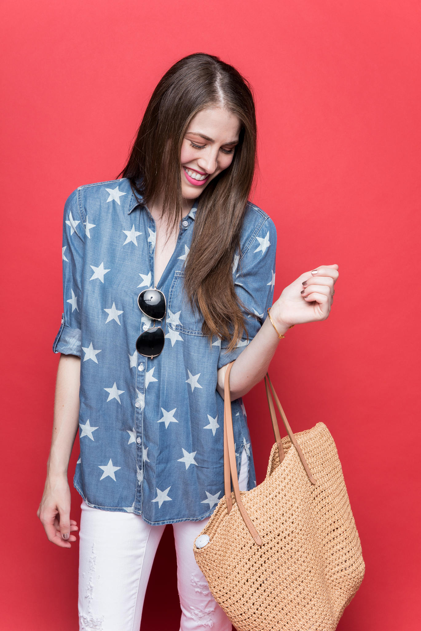 Star print button down