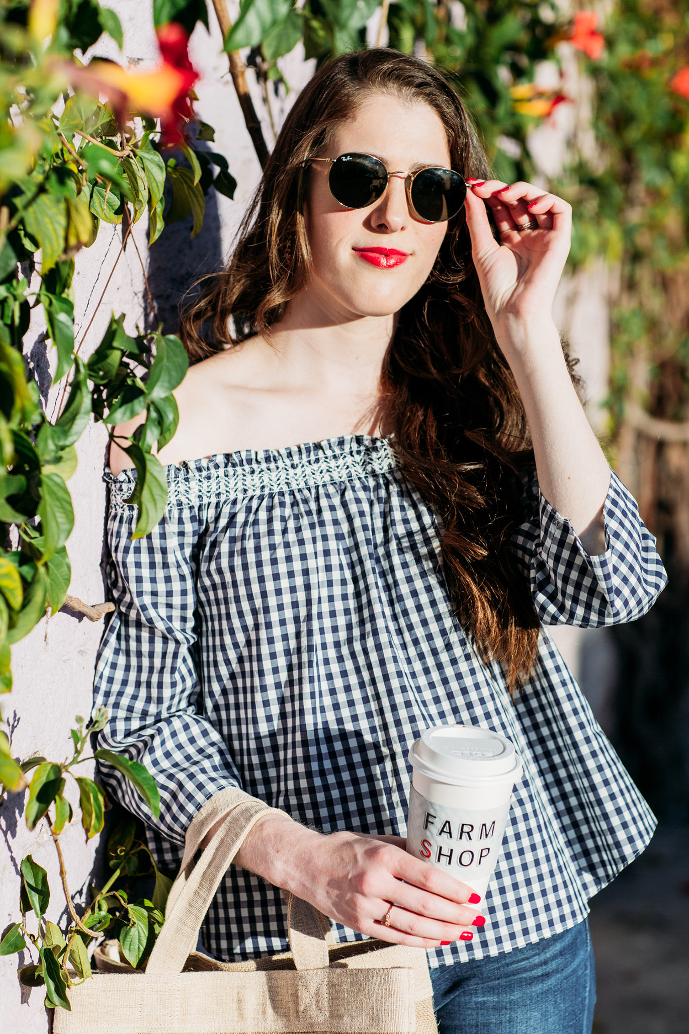 Madewell gingham off the shoulder top