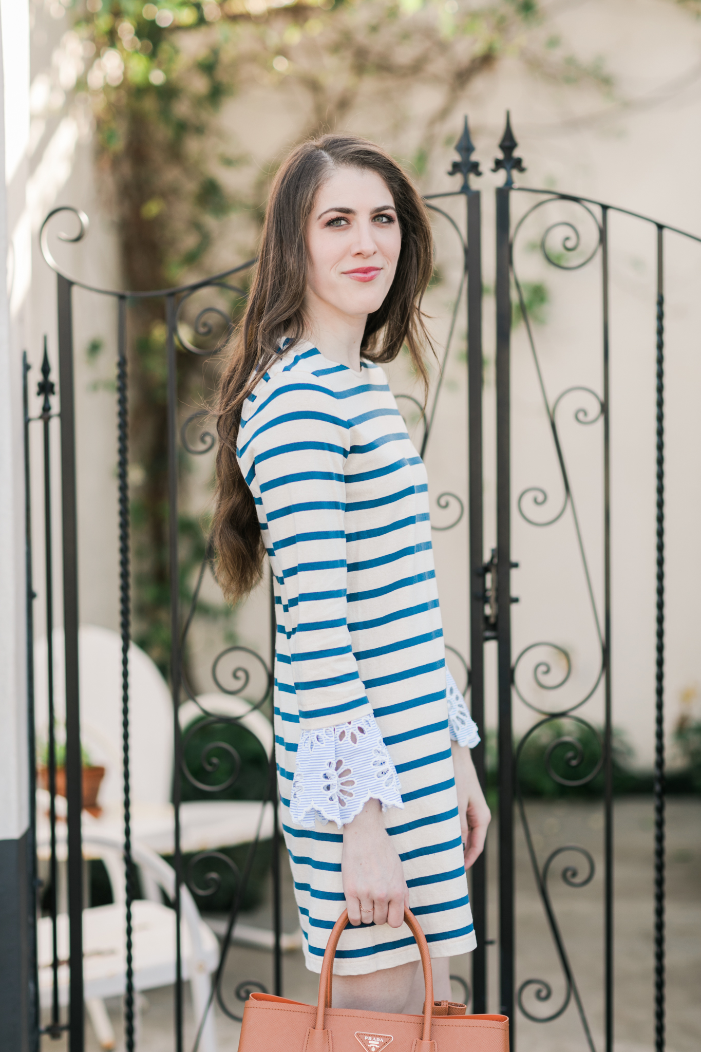 Sea striped dress statement sleeves