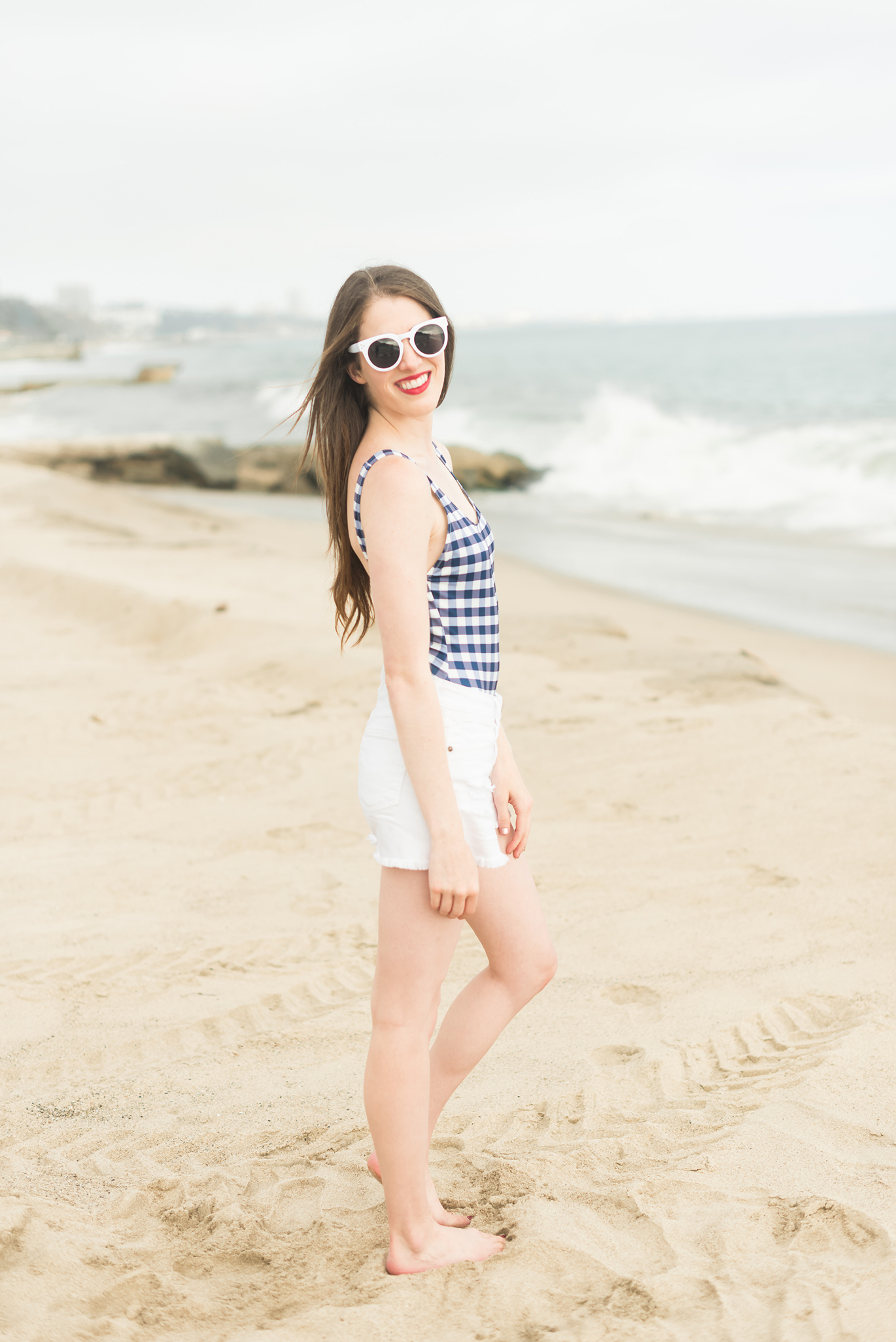 Solid and Striped gingham one piece