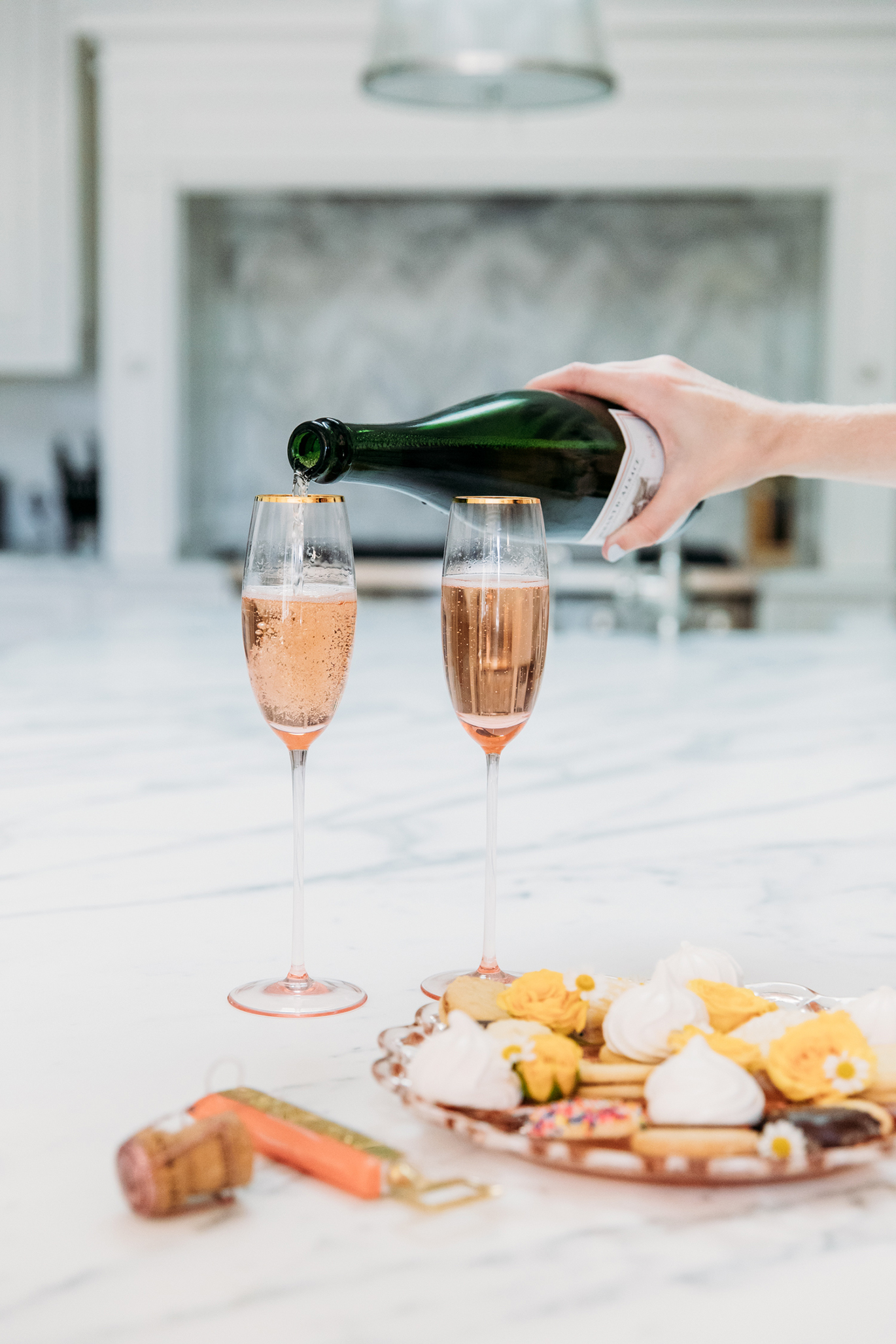Anthropologie pink champagne flute