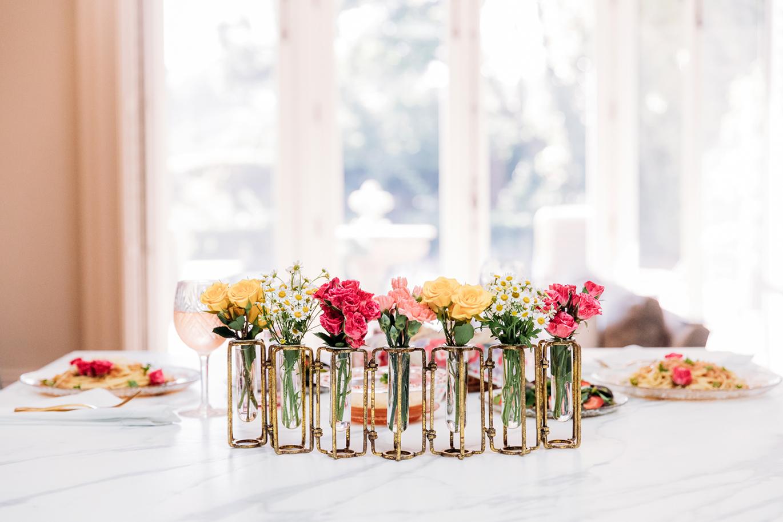 Gold hinged flower vase