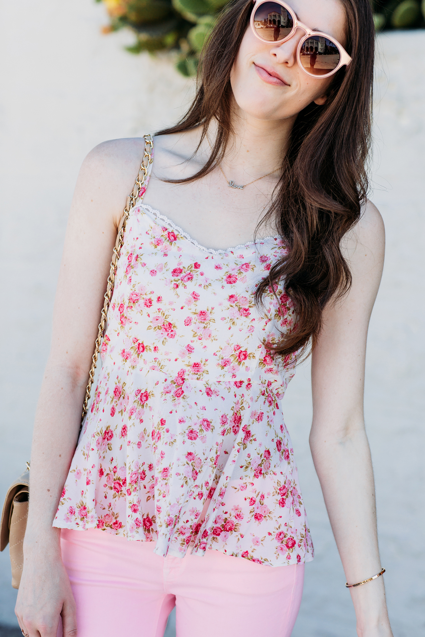 White top with pink flowers