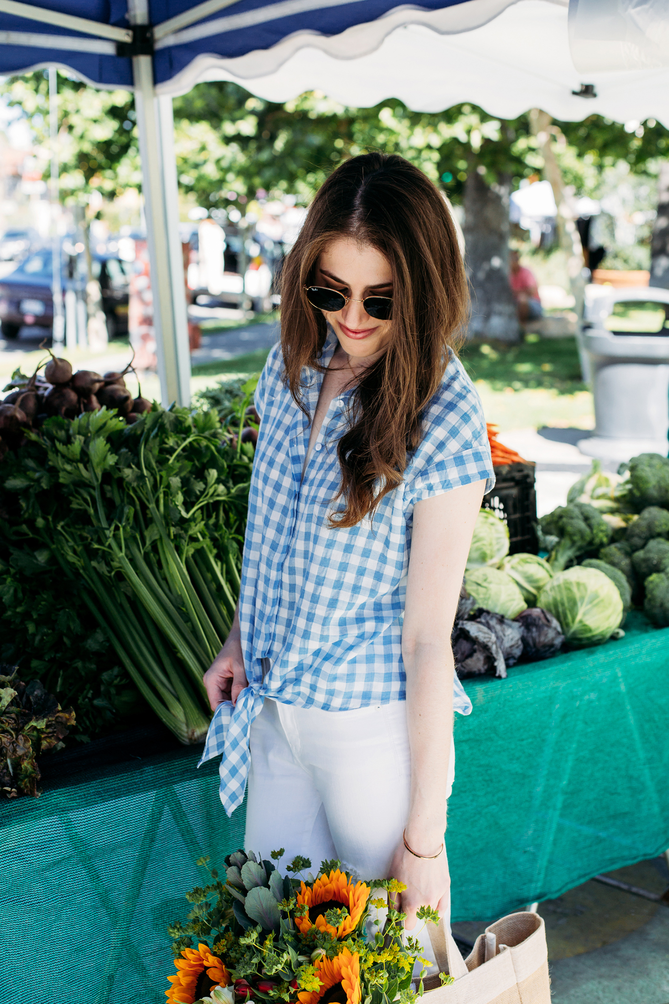 Blue and white gingham top