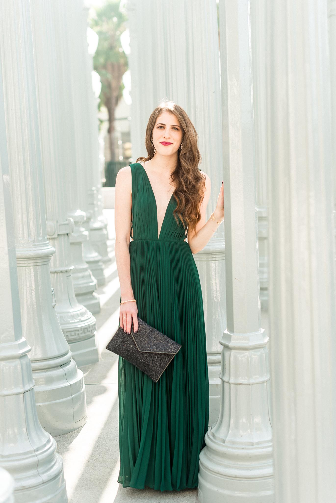 Long emerald green dress